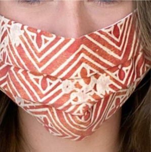 Vintage Fortuny Jupon Bouquet Printed Cotton Upcycled Face Mask exclusively at www.vintageluxeup.com