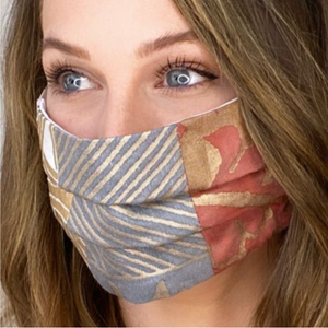 Vintage Fortuny Divertimento Printed Cotton Upcycled Face Mask exclusively at www.vintageluxeup.com