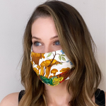 Load image into Gallery viewer, Vintage Gucci Silk Mushroom & Insect Scarf Upcycled Face Mask exclusively at www.vintageluxeup.com