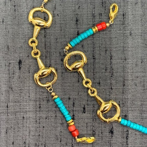 Horse Bit Gold Plated, Turquoise Heishi & Red Turkana Bead Mask Chain exclusively at VintageLuxeUp.com