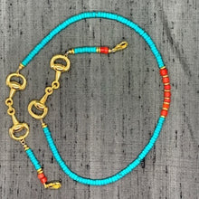 Load image into Gallery viewer, Horse Bit Gold Plated, Turquoise Heishi & Red Turkana Bead Mask Chain exclusively at VintageLuxeUp.com