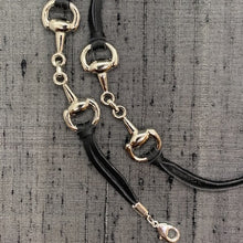 Load image into Gallery viewer, Horse Bit Snaffle Silver Plated & Black Leather Face Mask Chain exclusively at VintageLuxeUp.com