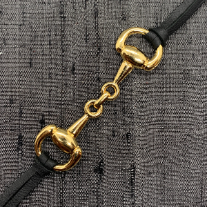 Snaffle Horse Bit Gold Plated & Black Leather Face Mask Chain exclusively at VintageLuxeUp.com