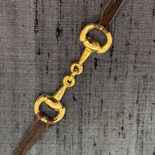 Load image into Gallery viewer, Snaffle Horse Bit Silver Plated & Black Leather Face Mask Chain exclusively at VintageLuxeUp.com