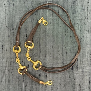 Snaffle Horse Bit Silver Plated & Black Leather Face Mask Chain exclusively at VintageLuxeUp.com