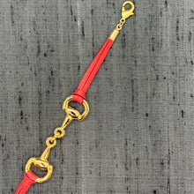 Load image into Gallery viewer, Horse Bit Gold & Red Leather Mask Chain