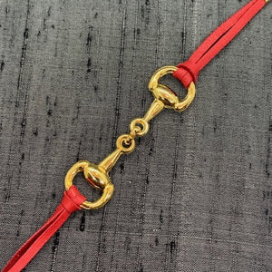 Horse Bit Gold & Red Leather Mask Chain