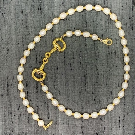 Horse Bit Gold Plated & Freshwater Cultured Pearl Mask Chain exclusively at VintageLuxeUp.com