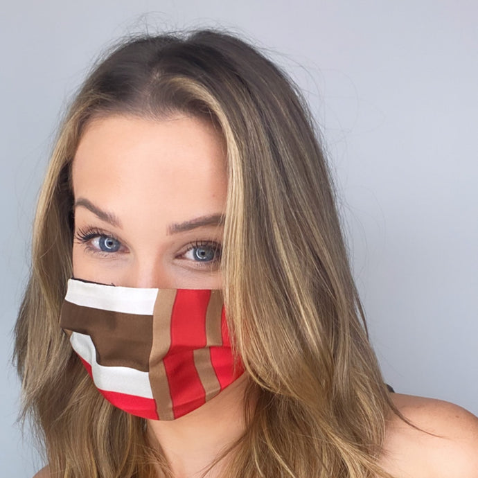 Authentic SAINT LAURENT Stripe Silk Scarf Face Mask exclusively at VintageLuxeUp.com