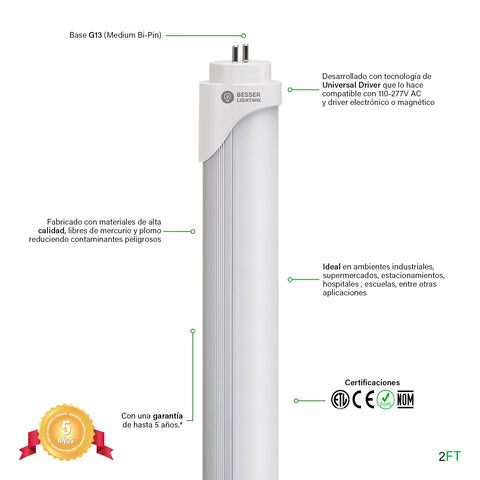 [luminarias_LED_lampara] - Besser Lighting - Tubo LED T8 Universal Driver Series