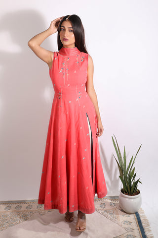 Back plunging cotton anarkali with bottom