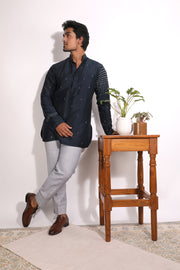 Embroidered Dark Blue Silk Short Kurta
