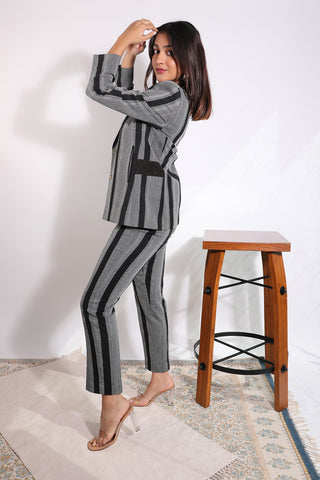 Tailored mid-rise striped balkam trouser