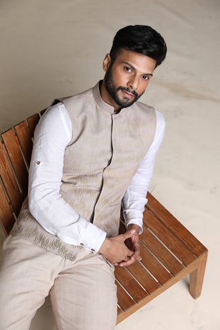 Ombre embroidered (khadi) nehru jacket