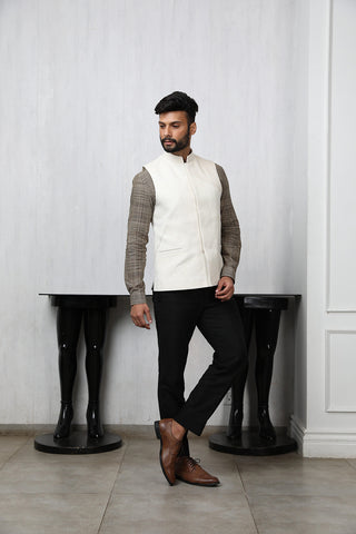 Off white khadi nehru jacket with cording