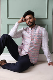 Embroidered ikat nehru jacket in raw silk
