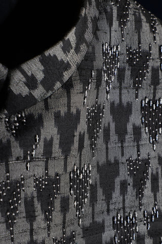 Monochrome ikat nehru jacket in raw silk