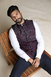 Embroidered red and blue ikat nehru jacket in raw silk