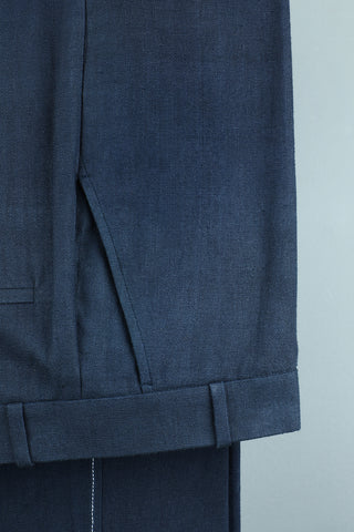 Teal regular fit (khadi) trouser
