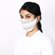 Off white and teal 3 layered cotton ikat mask