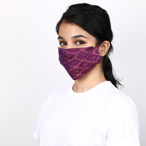 PURPLE 4 LAYERED SEIKO IKAT MASK