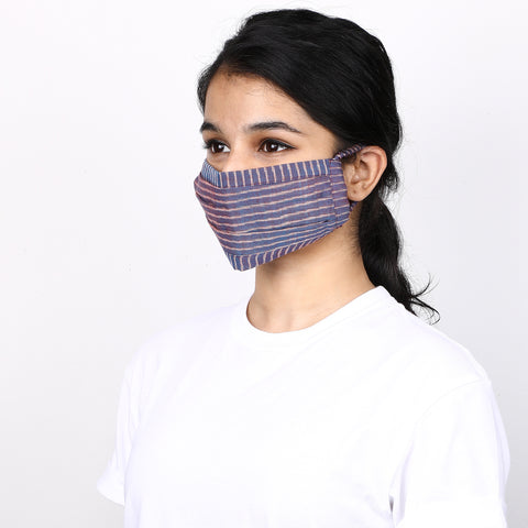 Purple and blue 3 layered handloom cotton ikat striped mask
