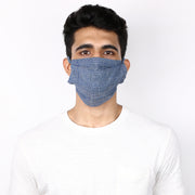 True blue 3 layered handloom cotton mask