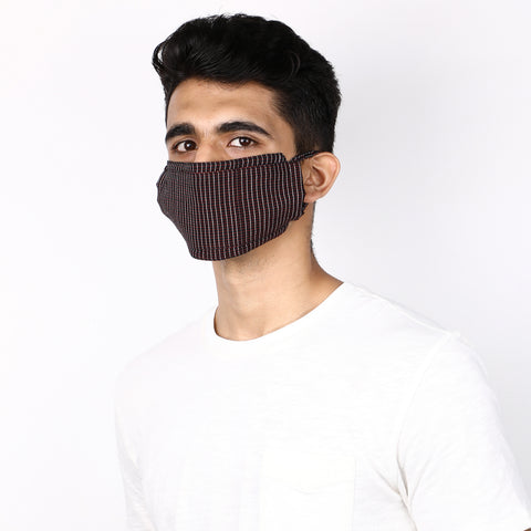 Black and red striped 3 layered handloom cotton mask