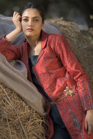 Handwoven and embroiderd silk jacket kurta