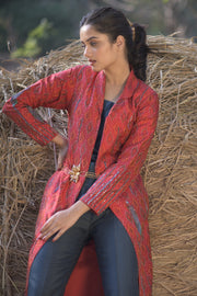 Handwoven and  embroiderd silk jacket  kurta with trousers