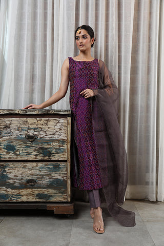 Silk ikat kurta with silk trouser and dupatta
