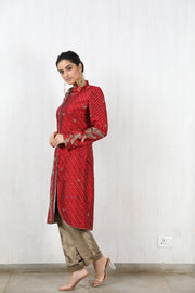 Embroidered silk ikat sherwani with trouser