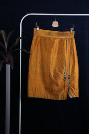 Embroidered silk ikat skirt
