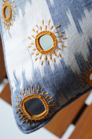Pochampally cotton ikat cushion cover with traditional banjara mirror embroidery