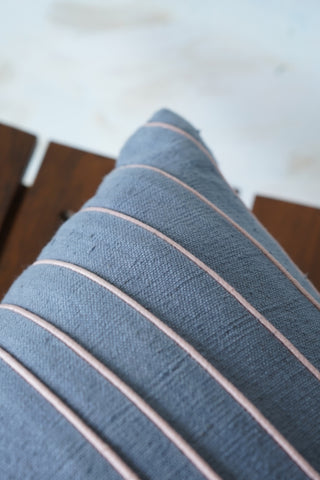 Handwoven khadi  cushion cover with  linear silk details