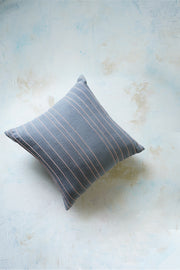 Handwoven (khadi) cushion cover with linear silk details