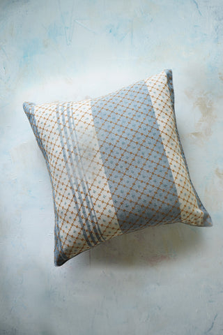 Jali patterned hand embroidery on gingham striped cushion cover