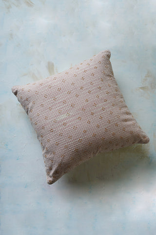 Banjara embroidery on marbled pastel pink  ikat cushion cover
