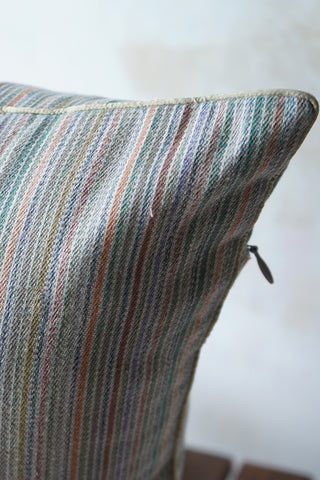Handwoven (khadi) cushion cover in tropical hued stripes