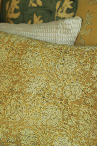Block printed Kalamkari cushion cover in rich silk chanderi