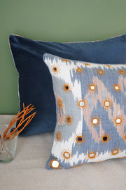 Suede cushion cover in solid royal blue