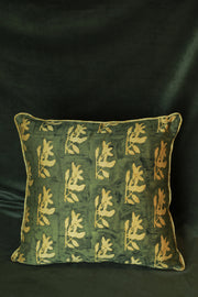 Chanderi silk cushion cover in tropical kalamkari block print and rich suede back