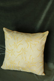 Off-white suede cushion cover with mustard hand block print