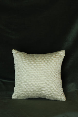 Off-white cotton cushion cover with woven embroidery