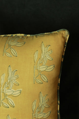 Summery yellow cotton cushion cover with kalamkari block print and suede back