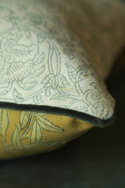Double-sided block printed cushion cover with piping details