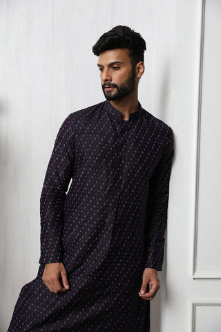 Handwoven Purple Raw Silk Ikat Men's Kurta With Embellishments