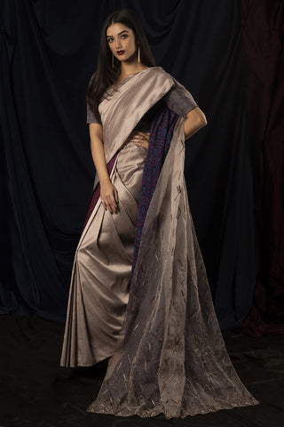 Handwoven Organza & Silk Double Pallu Saree with Pochampally Ikat Blouse