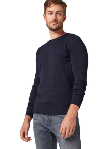 Tom Tailor Basic Pullover Navy Melange