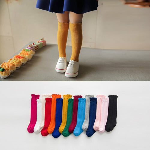 1 Pair of Plain Cotton Knee Lace Socks